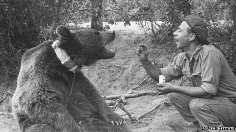 Vojáci si Wojtka nesmírně zamilují. Medvěd je pak ochotně následuje i do bitevní vřavy.