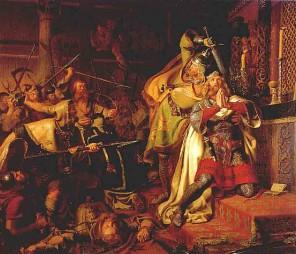 Vzbouřenci zavraždí dánského krále Knuta IV. rovnou před oltářem v kostele.