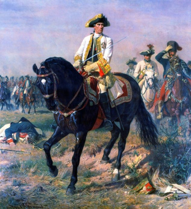 Laudon in victory pose at the Battle of Kunersdorf, 1878 portrait by Siegmund L'Allemand