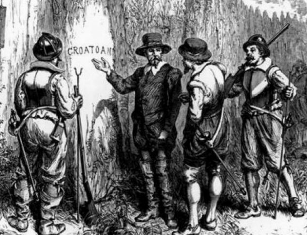 """John White discovers the word """"CROATOAN"""" carved at Roanoke's fort palisade."""