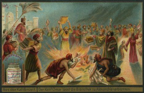 zapálení knihovny